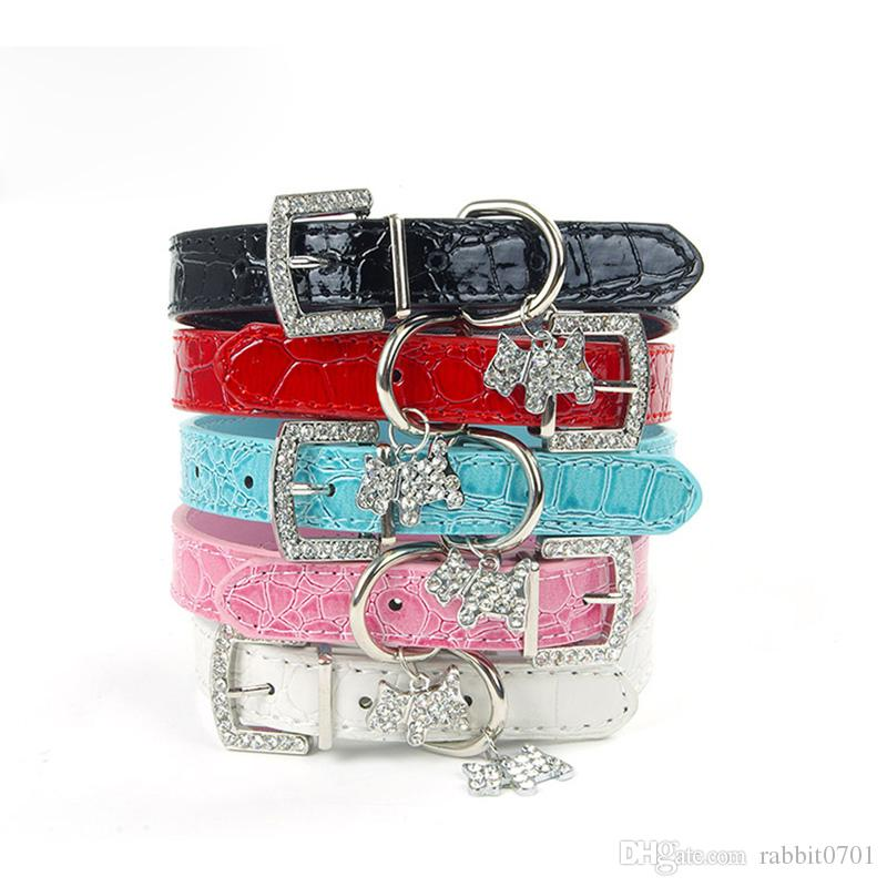 Crystal Pendant Pet Dog Collar Puppy Cat Pet Buckle Dogs Leads Neck Strap PU Leather Animal Pet Accessories For Small Dogs