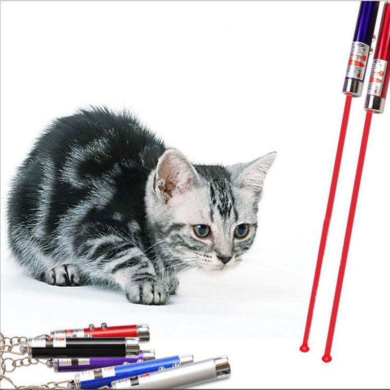 2in1 roter Laser-Zeiger-Pen-Schlüsselring mit weißer LED-Licht-Show-tragbarer Infrarotstock-Kinder Lustige Katzen-Haustier-Spielwaren mit Kleinverpackung