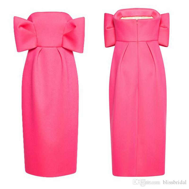 High-quality Water Melon Strapless Evening Dress With Bows Exquisite Satin Ruffle Bows Bodice and Midi Pencil Skirt Formal Party Dress