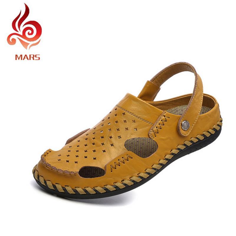 4cba4fd7bff0 Wholesale 2016 Fashion Men Leather Slides Sandals Men Shoes Summer Flip  Flops For Men Beach Slippers Breathable Flats Sapatos Size 38 44 Platform  Shoes Prom ...