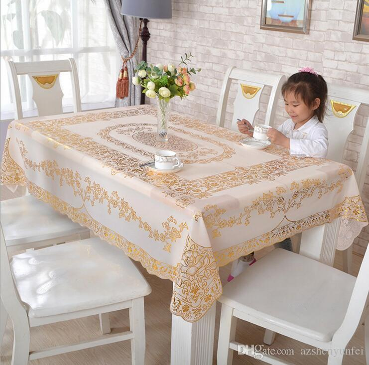 New European Classic Tablecloths Pvc Bronzing Table Cloth Waterproof  Disposable Tablecloths Rectangular Non Slip Insulation Wallpaper Long  Tablecloths Grey ...