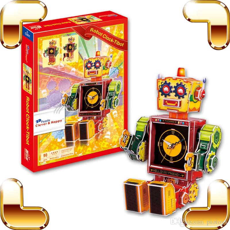 2018 New Diy Gift Robot Clock Tibot Series 3d Puzzles Cartoon Model Kids Education Tool Paper Puzzle Brain Game For Children From Piotoys