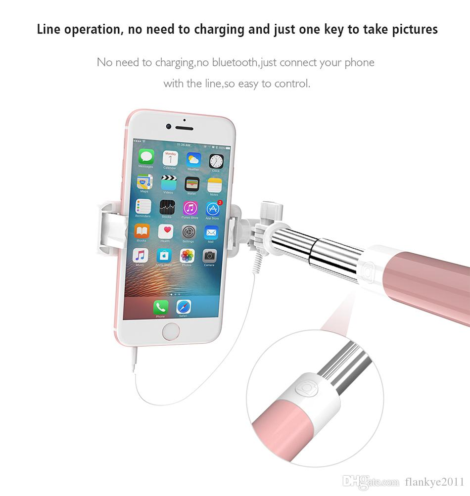10 pçs / lote Frete Grátis Por DHL Universal Mini Selfie Vara 360 Rotatable Dobrável Portátil Extensível Com Fio Auto Espelho Vara Para iPhone