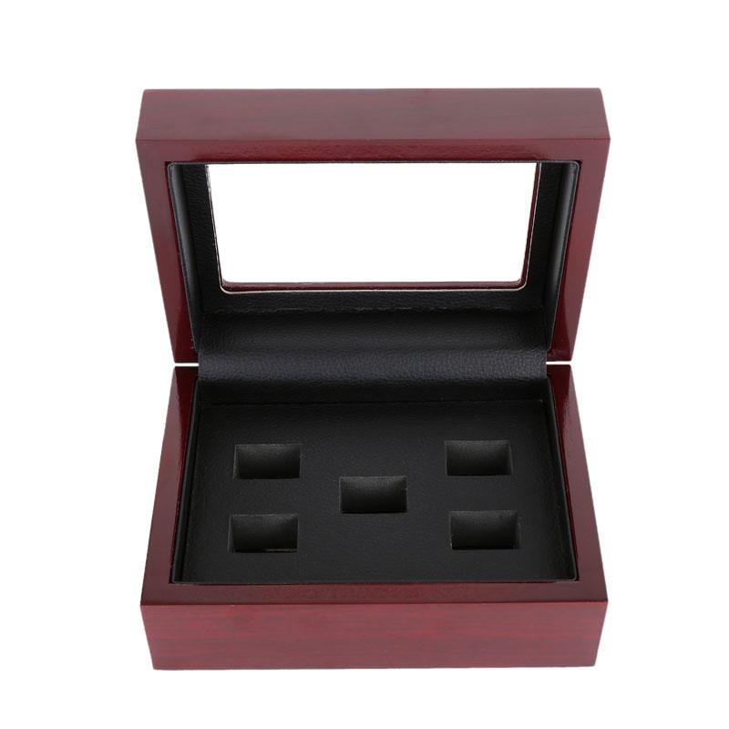 Cas de boîte d'affichage de bijoux de style rétro trous 2/3/4/5/6 pour les anneaux du championnat