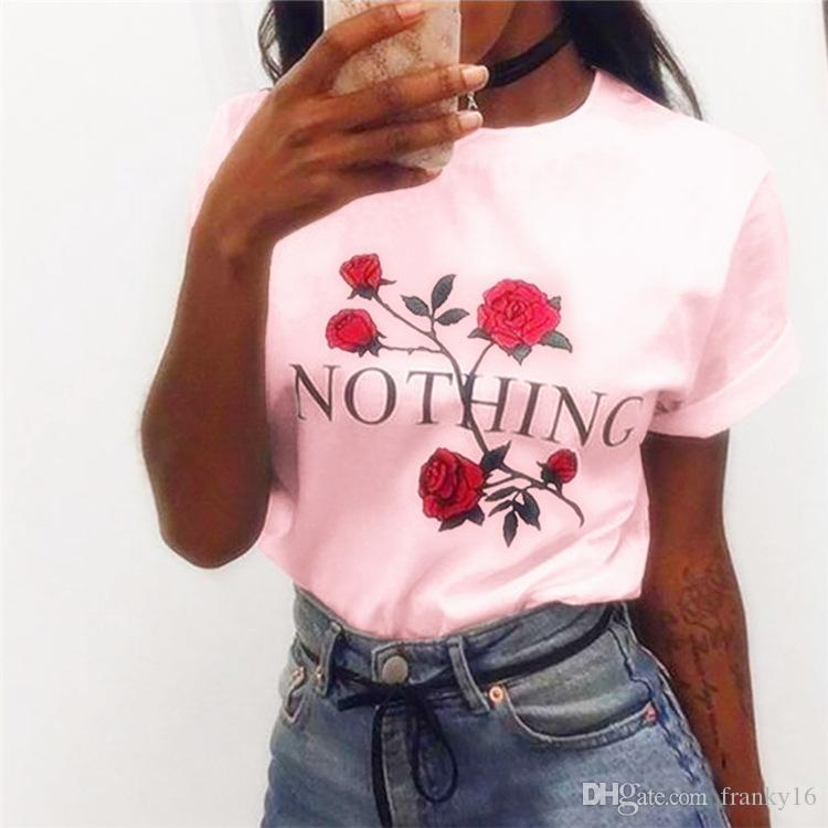 Large Stock 2017 Summer Hot Sale Rose Flower Print For Women NOTHING Letter Printing Blouse Female Short Sleeve Cotton T-shirt XS-2XL