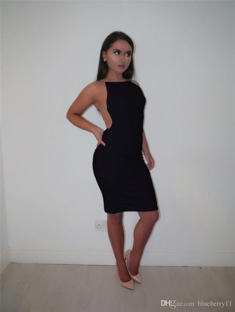Hot sale sexy dress solid black white summer dresses slash neck sequin chain knee length bodycon backless dress
