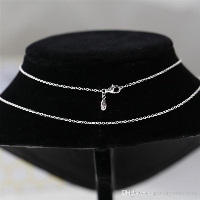 Splendida collana 100% solido 925 sterling argento moda donna gioielli stile europeo il fascino fai da te perlina JSDN001