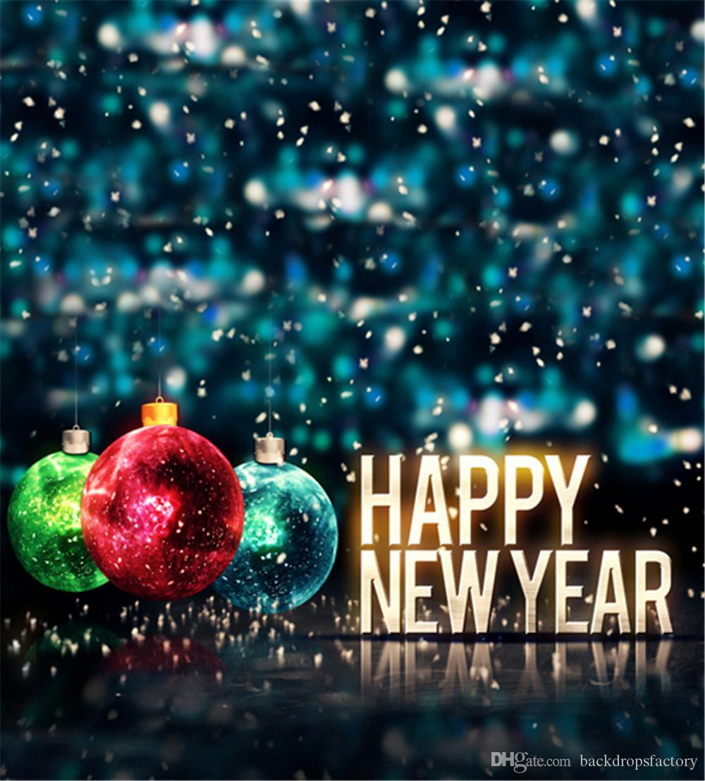 2018 happy new year family photography backgrounds vinyl colorful christmas balls bokeh blue photo studio backdrops party photo booth back drop from