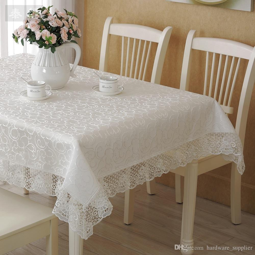 Square Lace Fabric Wedding Tablecloths Party Home Decor Vintage Kitchen Table Cloths Fl Textiles Decoration 130 150cm White Black Circle Tablecloth