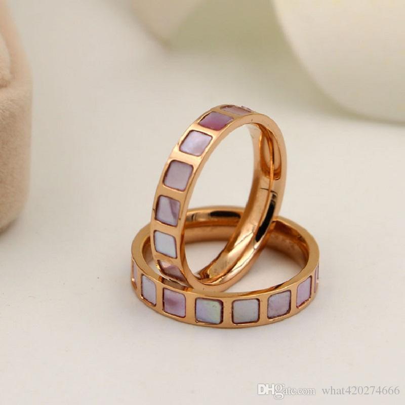 New Fashion Design Rose Gold Farbe Quadrat Rechteck Form Rosa Shell Ring Fur Frauen Liebhaber Trendy Schmuck Fingerring Weiblich 5 9