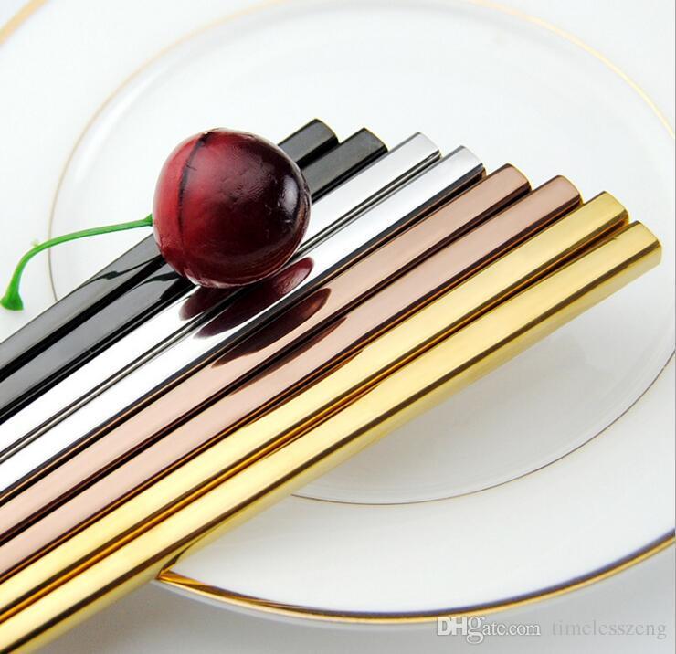 Baguettes baguettes creuses carrées en acier inoxydable 304 de haute qualité 304 Quatre couleurs choisissent un cadeau de style simple