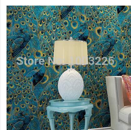 acheter papier peint mural papier peint paon gros moderne. Black Bedroom Furniture Sets. Home Design Ideas