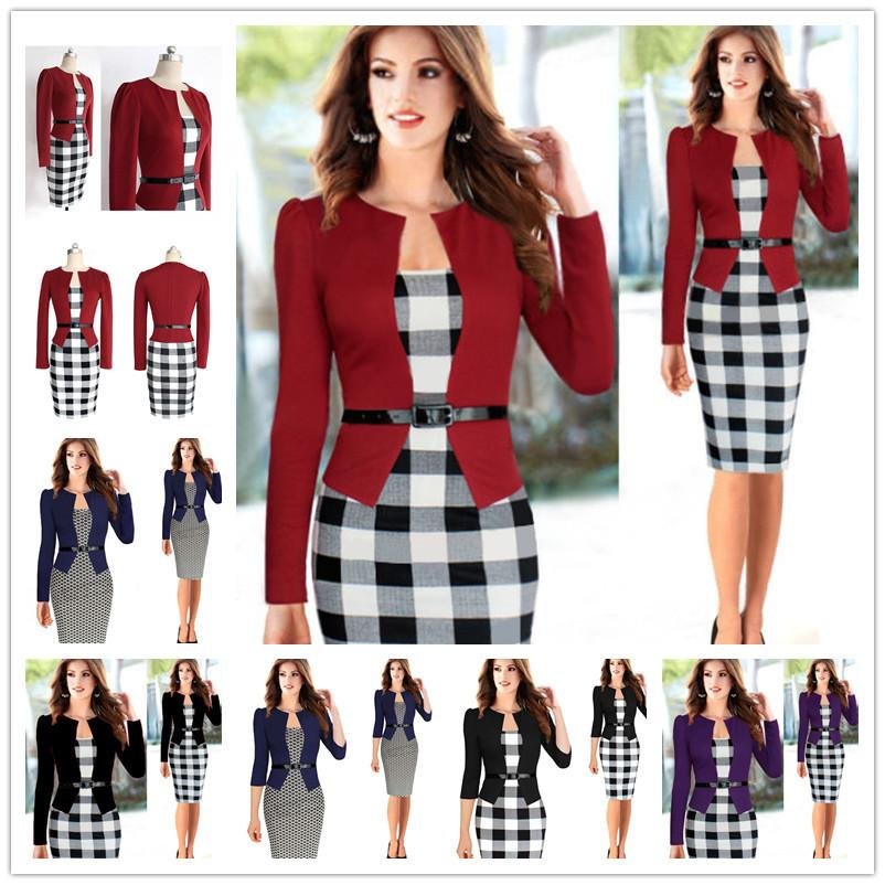 00ca0265fde6 2017 New Womens Autumn Retro Faux Jacket One Piece Polka Dot Contrast  Patchwork Wear To Work Office Business Sheath Dress Cute Dresses For Women  Silk ...