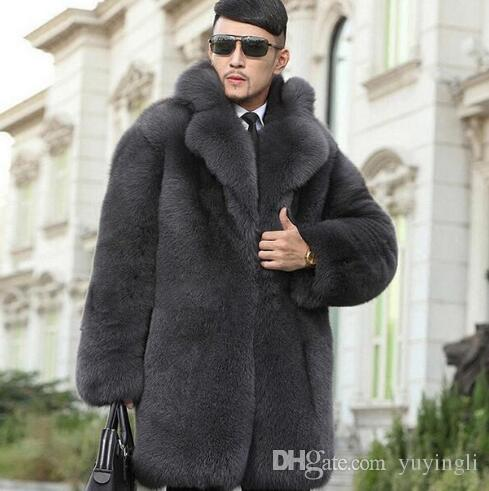 31b14eacb0 2019 Grey Warm Faux Imitation Rabbit Fur Coat Mens Leather Jacket Men Coats  Villus Suit Collar Winter Loose Thermal Outerwear From Yuyingli