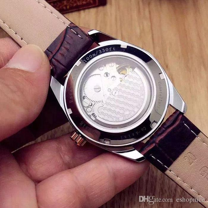 Venda quente Casuais homens relógios pulseira de couro de luxo com calendário relógio de pulso automático mecânico Para mens melhor presente Relogio masculino