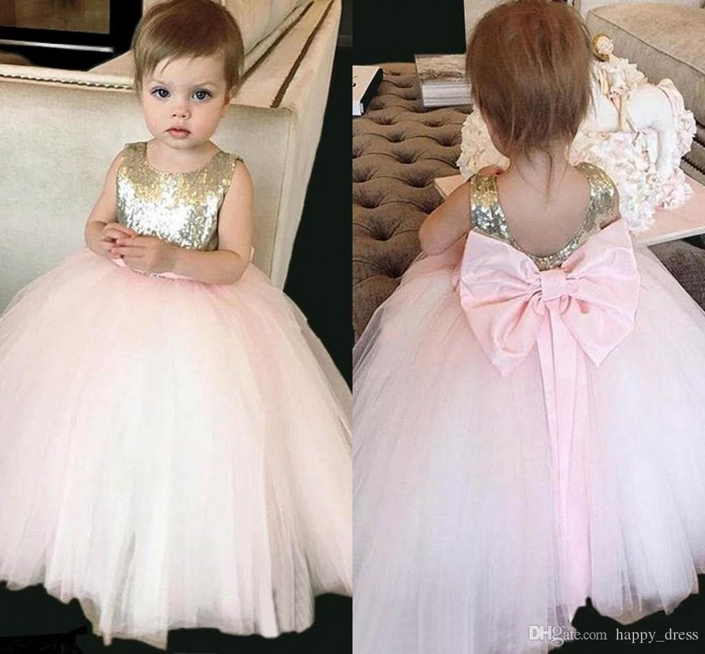 2017 Cute Gold Pink Sequined Flower Girl Dresses With Bow Sash Tulle