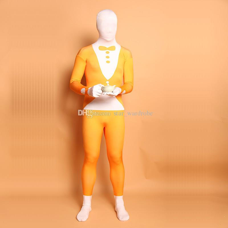 Orange and White Suit Pattern Cosplay Costume Halloween Lycra Spandex Full Body Zentai Suit For Women