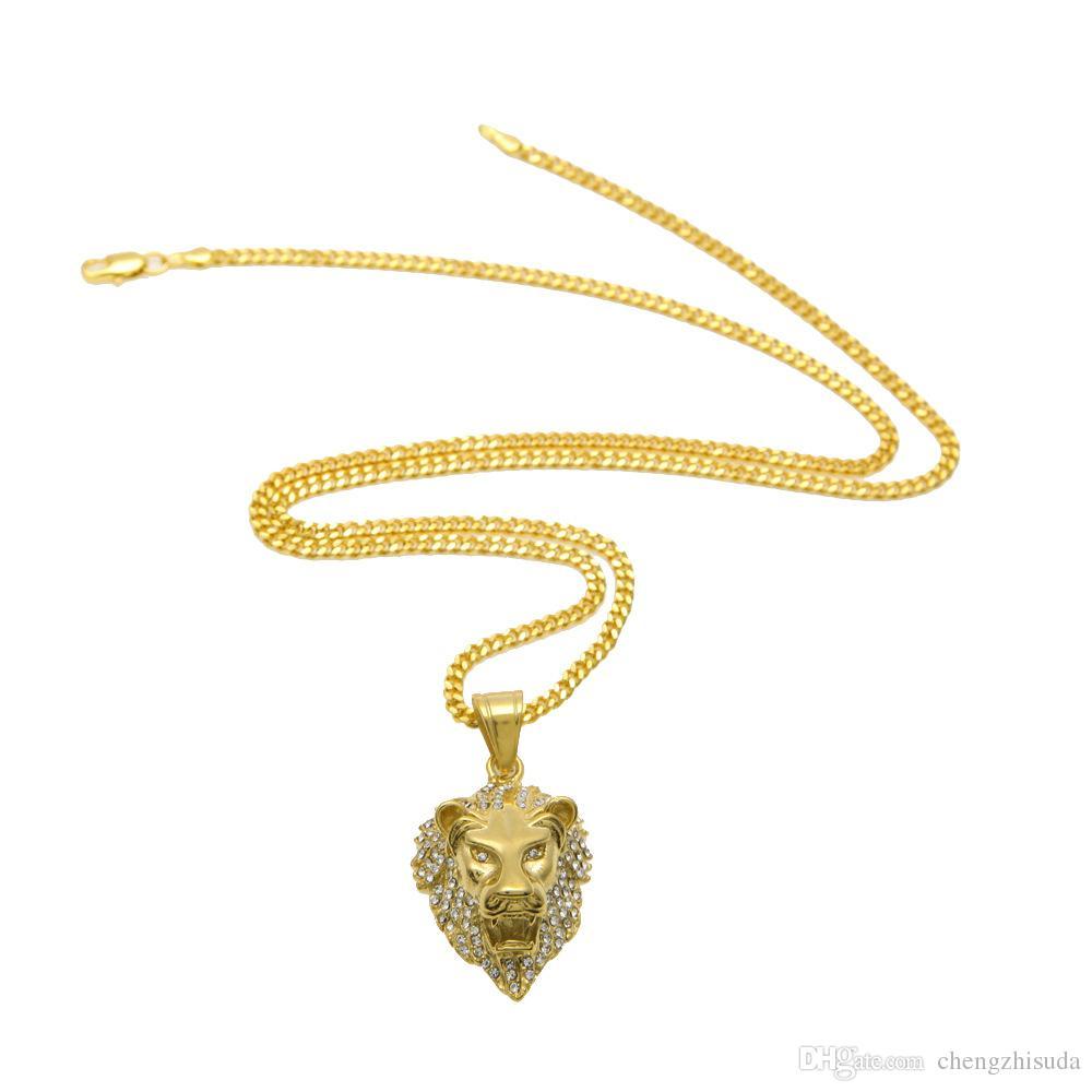 Moda Hip hop cabeza de león pendiente del collar 18K chapado en oro de Bling del encanto de los colgantes para los hombres de las mujeres