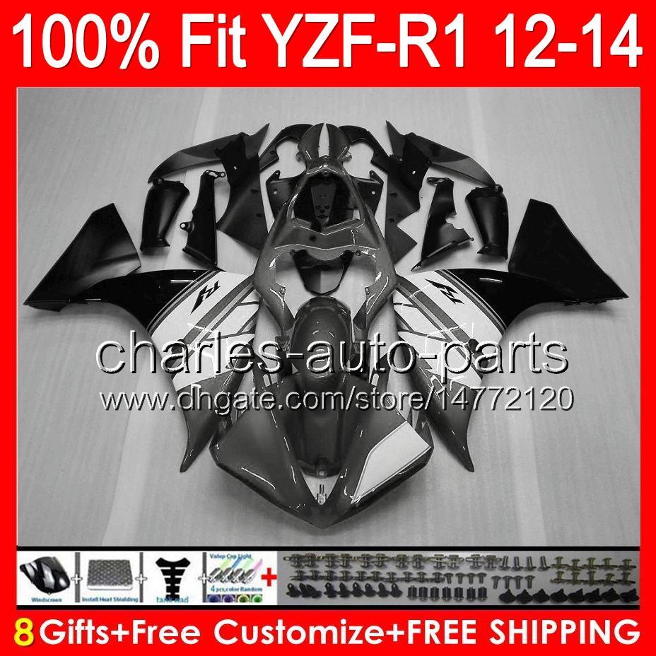 brillant gris 8gifts Injection Pour YAMAHA YZF-R1 12 13 14 YZF R1 12-14 96NO58 YZF 1000 YZF R 1 YZF1000 YZFR1 2012 2013 2014 noir gris Carénage