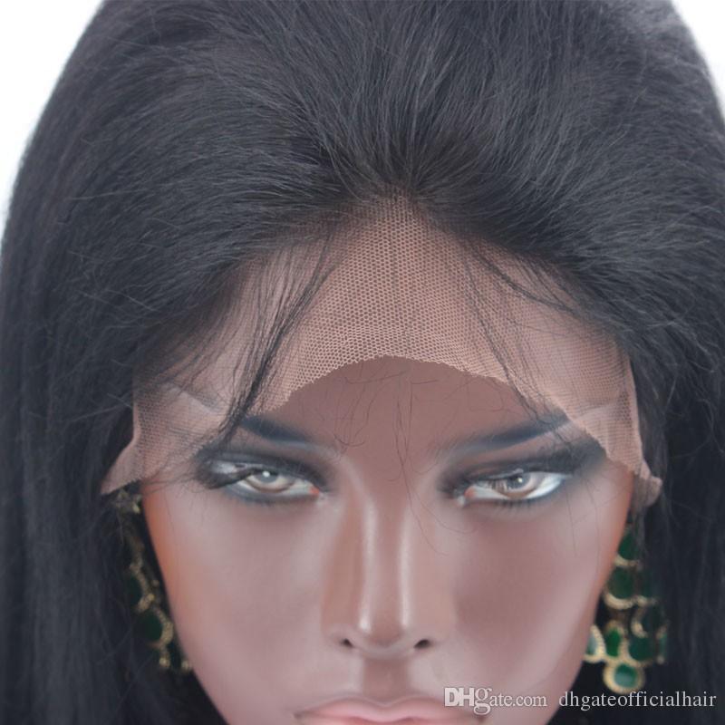 Vente chaude En Soie Base Top Full Lace Lace Front Perruque Yaki droite Brésilienne Malaisienne Perruque de Cheveux Humains Avec des Cheveux de Bébé pour les femmes noires