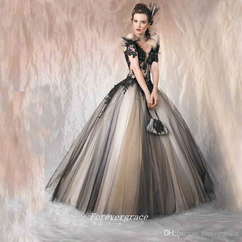 White Wedding Dress Under 500: Vintage Short Sleeves Ball Gown Black Wedding Dress Puffy