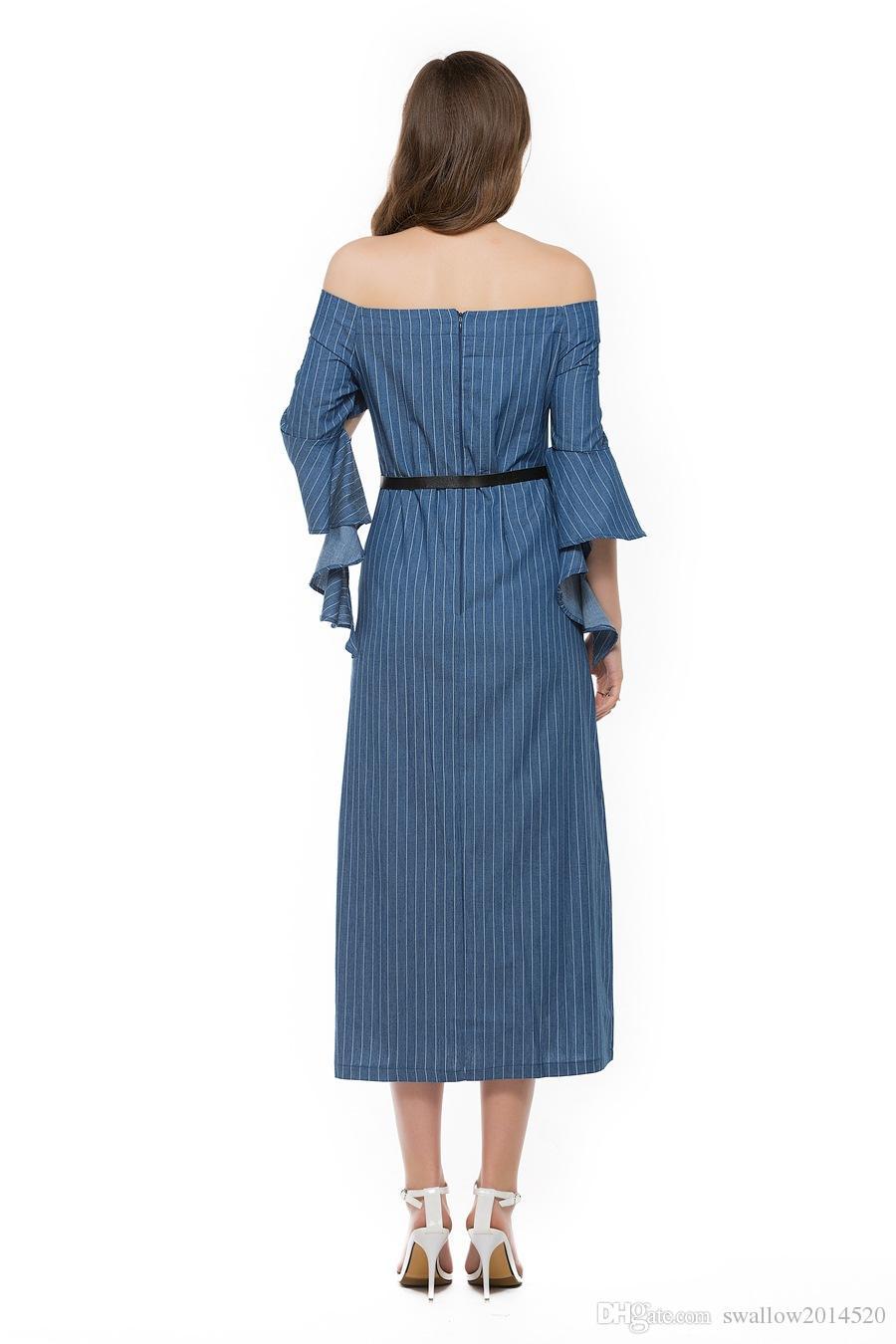 Women stripe runway Maxi Dresses 2017 Elegant Denim Strapless Off the Shoulder half Flare Sleeve Slim Slit long maxi Dress with belt