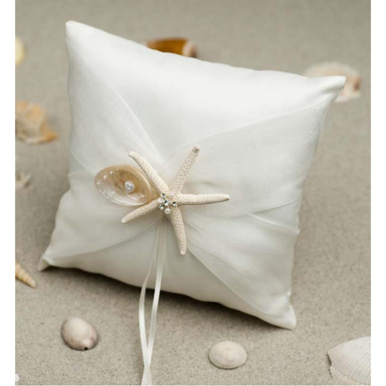 2017 Beach Wedding Ring Bearer Pillow Cushion White Ribbon With