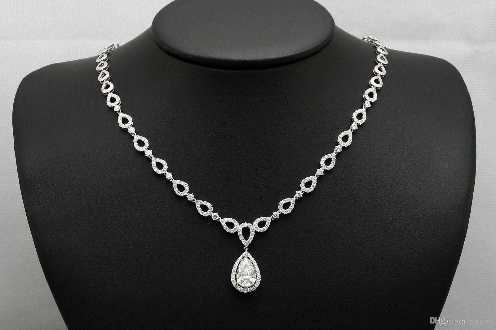 stud zirconia silver large shaped halo and pendant earring set context necklace cubic pear p