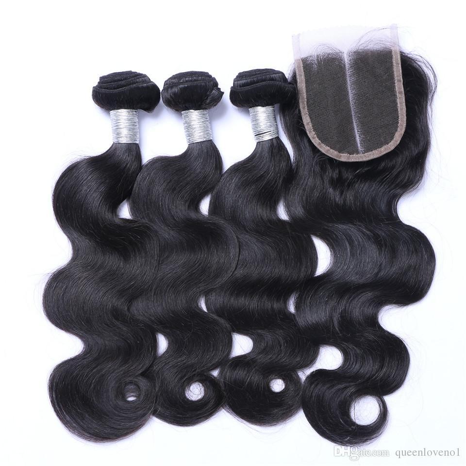 Virgem Cabelo brasileira 3 Pacotes com laço frontal Encerramento Heterossexual Magro Cabelo Humano Aceno peruana Pacotes de cabelo com Encerramento