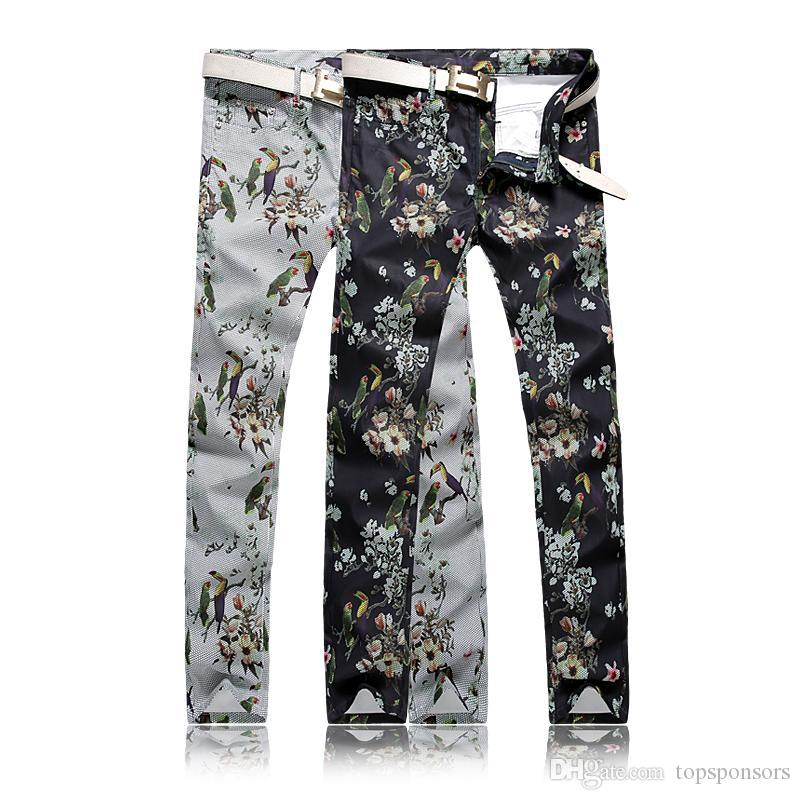 c6381a69e994 2019 New Fashion Men S Floral Pants Cotton Washed Casual Black And White  Parrot Pattern Print Personality Straight Trousers Plus Size From  Topsponsors