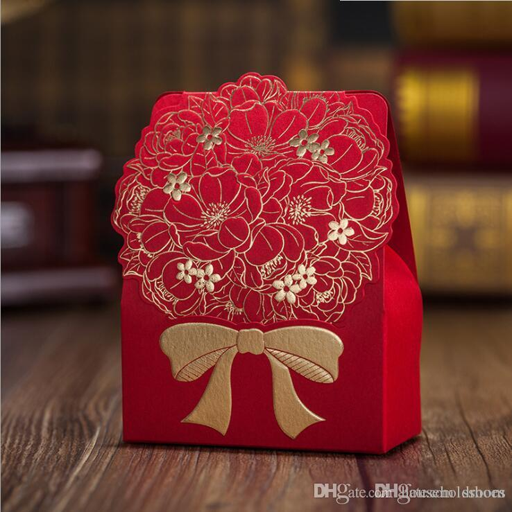 Red Laser Cut Wedding Favor Holders Sweet Flower Bowknot Wedding