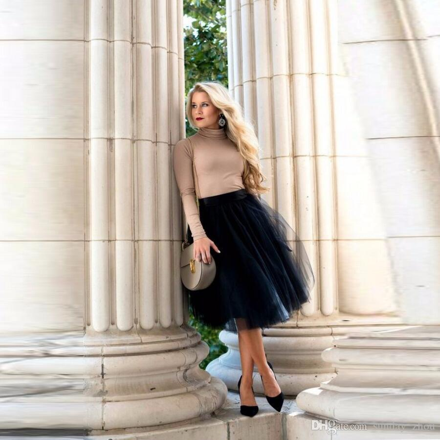 f035bc4c8 Moda Estilo Casual Otoño Invierno Faldas Mujeres Por Encargo Cintura  Elástica Una Línea Falda Hasta la Rodilla Falda de Tul Negro