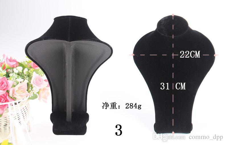 2017 الأزياء الأسود المخملية والمجوهرات عرض موقف النساء المعرضة رؤساء رف صورة نموذج القلائد عرض neckform 5 الحجم