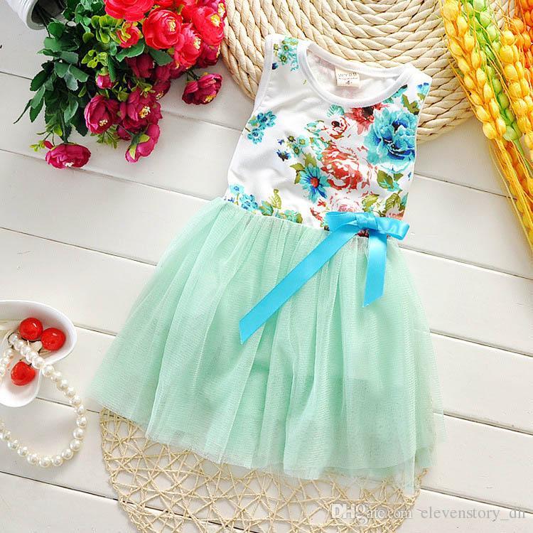 Girls floral tutu dress summer Children baby kids tulle wholesale clothes dance/wedding/party 4BB406DS-93