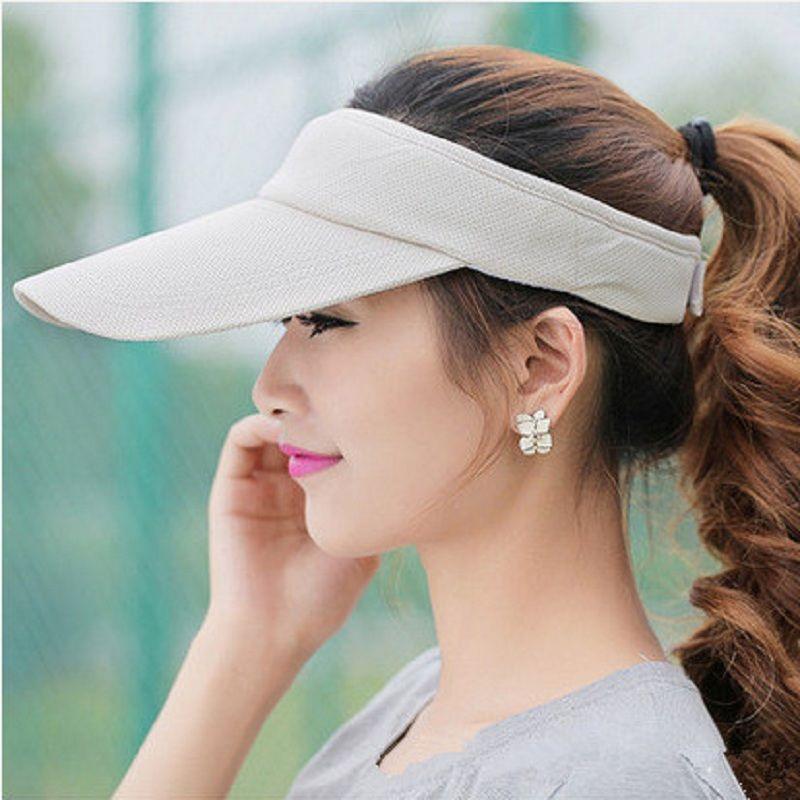 2017 Summer Unisex Visor Empty Top Sun Hat Solid Brim Elastic Band Caps Beach UV Protection Hats For Men And Women