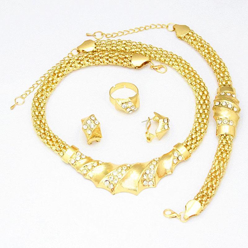 Garanzia 100% di alta qualità !! 24K oro popolare riempito collana braccialetto dell'orecchino anello africano moda donna grandi insiemi dei monili