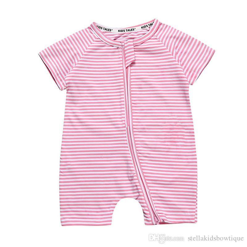 2017 New Baby Boy Clothes Pink Striped Baby Girls Romper Short Sleeve Summer Cotton Newborn Outfit Zipper Children Clothes
