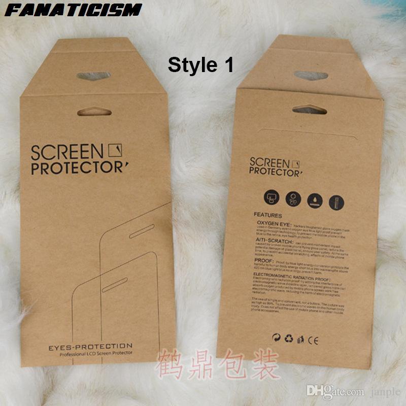 iPhone 11 Pro XR XS MAX 8 7 6S Samsung S20 S10フィルム強化ガラススクリーンプロテクターのためのユニバーサルクラフト小売包装箱