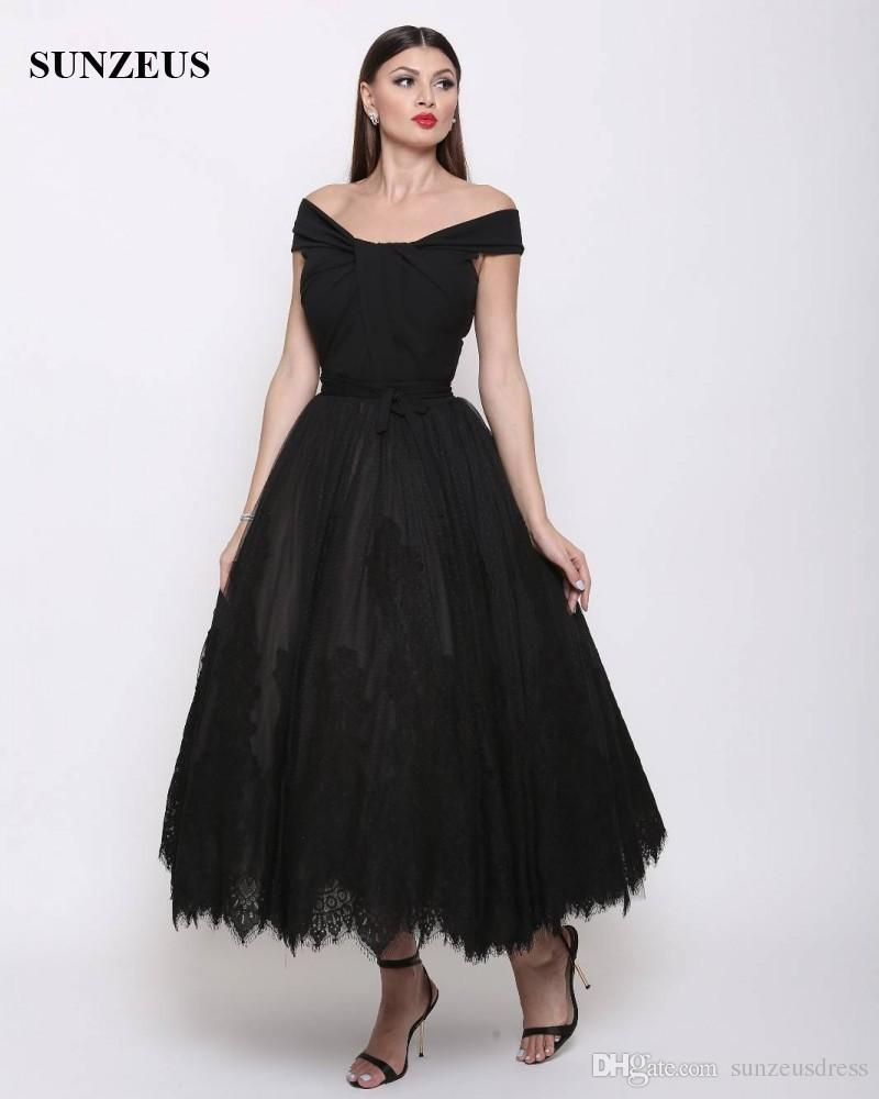 A Line Off Shoulder Evening Gowns Ankle Length Black Tulle Formal ...