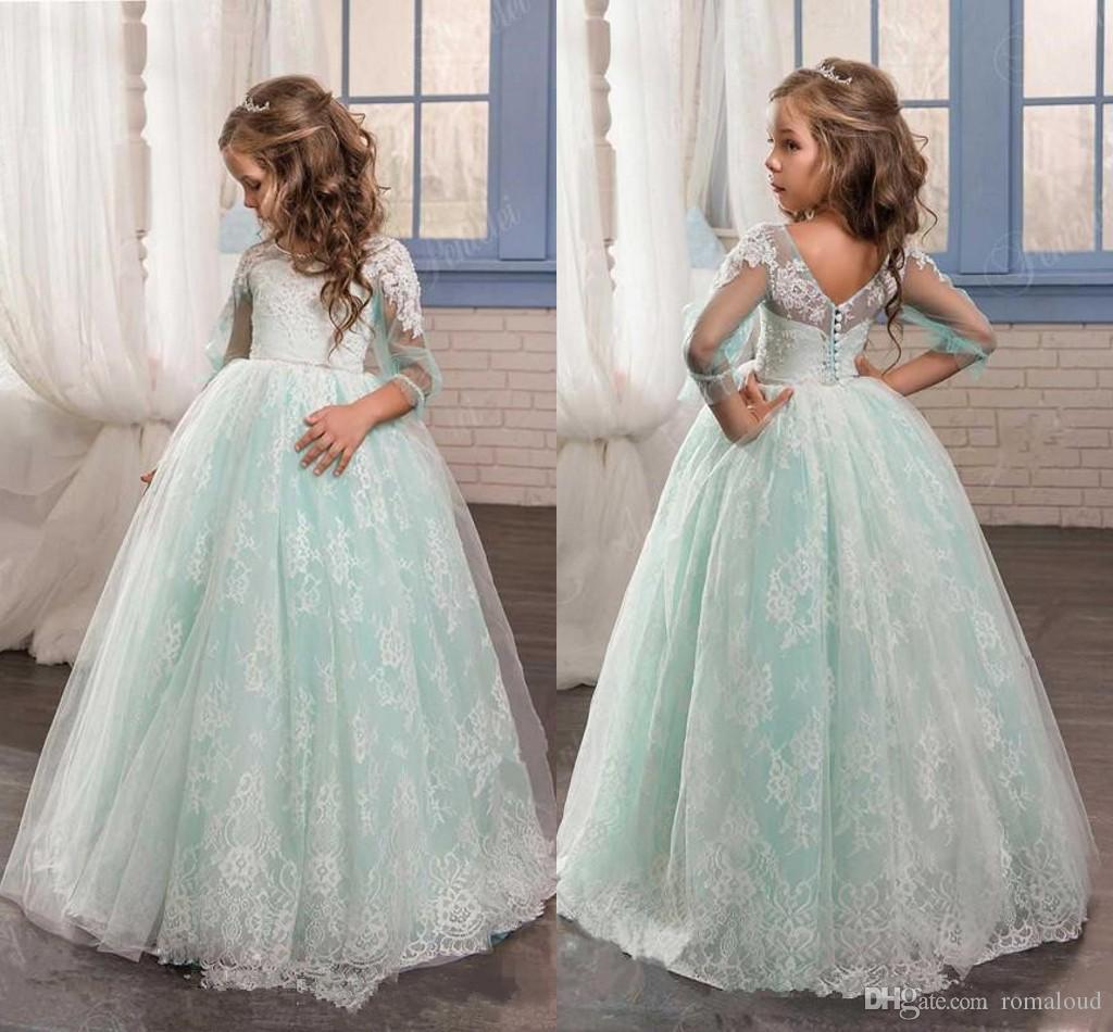 Mint 2017 Cute Flower Girl Dresses For Wedding 3/4 Sleeves Floor ...