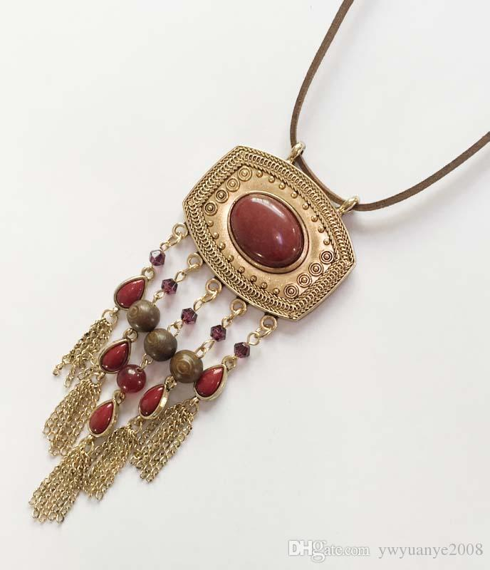 Wholesale square metal pendant with ruby stone necklace semi wholesale square metal pendant with ruby stone necklace semi precious stone brown suede pendant oval beads with round wooden beads chain tassel charm aloadofball Images