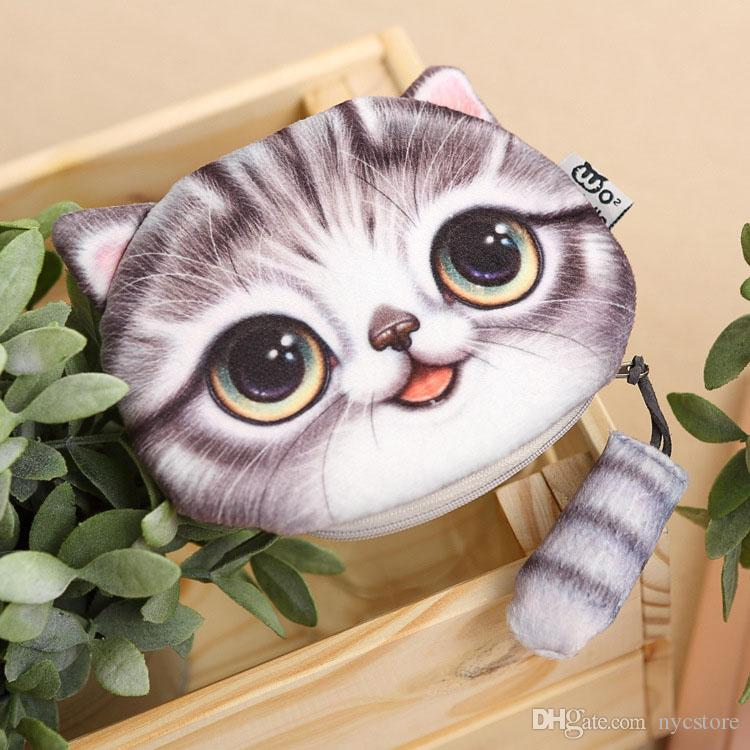 4 styles new cat coin purse ladies 3D printing cats dogs animal big face change fashion meow star people cartoon zipper bag for children