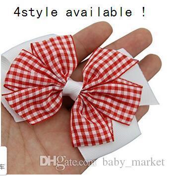 4 Stijl beschikbaar! babymeisjes geruit haar bogen 3.5