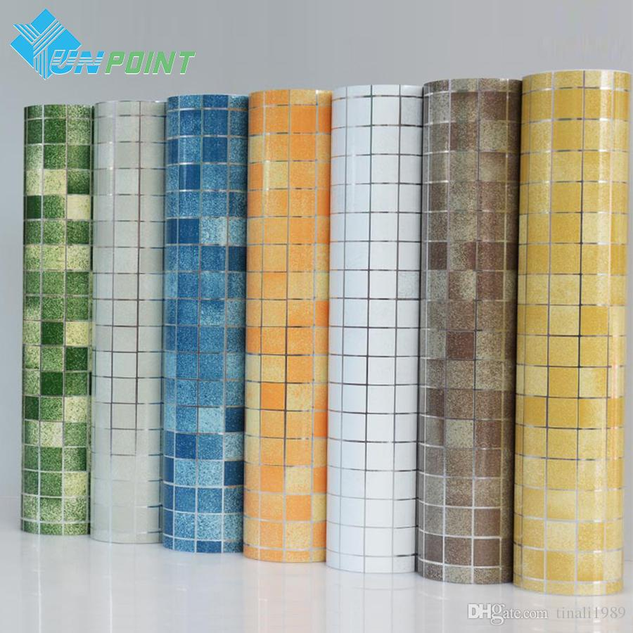 Kitchen wall sticker pvc mosaic tile wallpaper bathroom for Decoration adhesif mural
