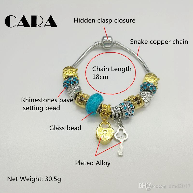 CARA 2017 New arrival Heart lock&Key Charm women Bracelet Silver color copper chain blue rhinestone beads bracelet gift CARA0117