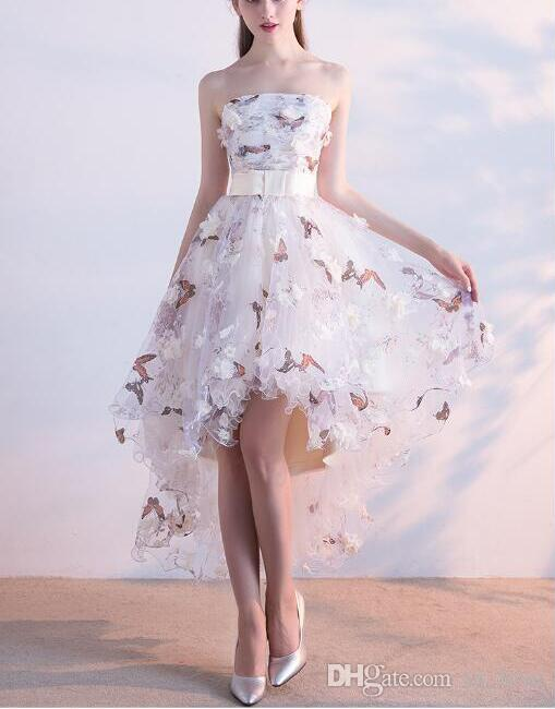 3D Flower High Low Prom Dresses Strapless Bow Belt Handmade Flowers Butterfly Printed Party Gowns Lace up Back Custom Size
