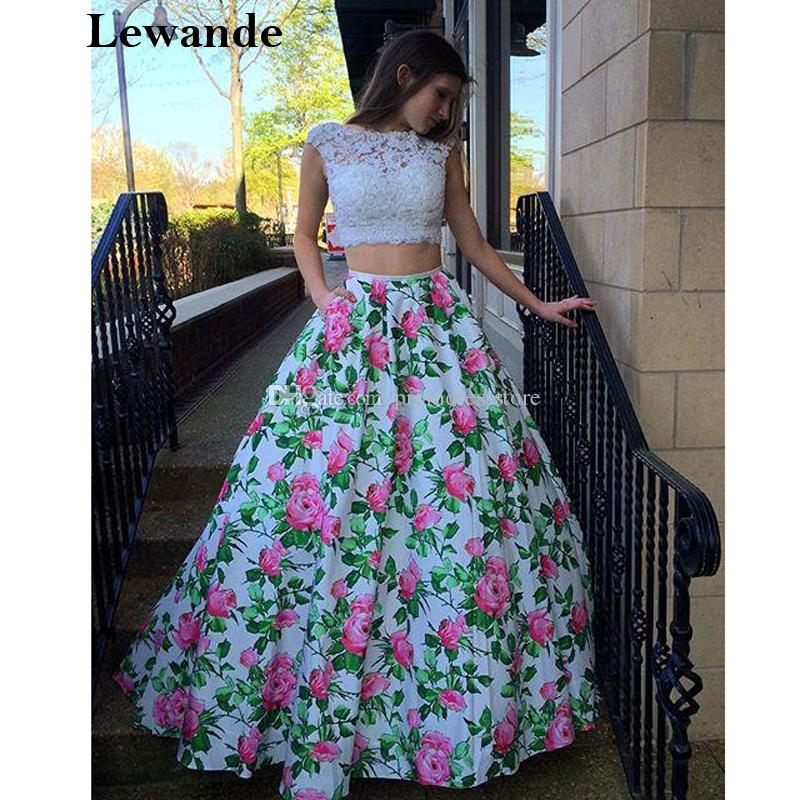 cde46457400 Floral Print Open Back Homecoming Prom Dress Applique Lace Taffeta Flower  Pattern Skirt Lewande 50492 Two PC A Line Pageant Gown Punk Prom Dresses  Red ...