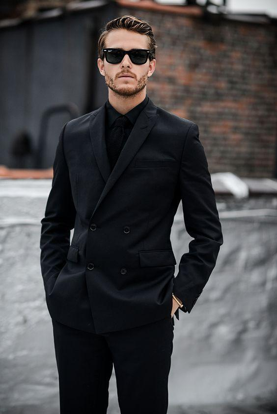 2019 Wholesale Peaked Lapel Black Double Breasted Suits Jacket Pant