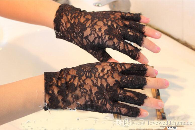 2017 Black And White Summer Ladies Wear Half Finger Gloves Wrist Length Bridal Gloves Wedding Accessories Cheap