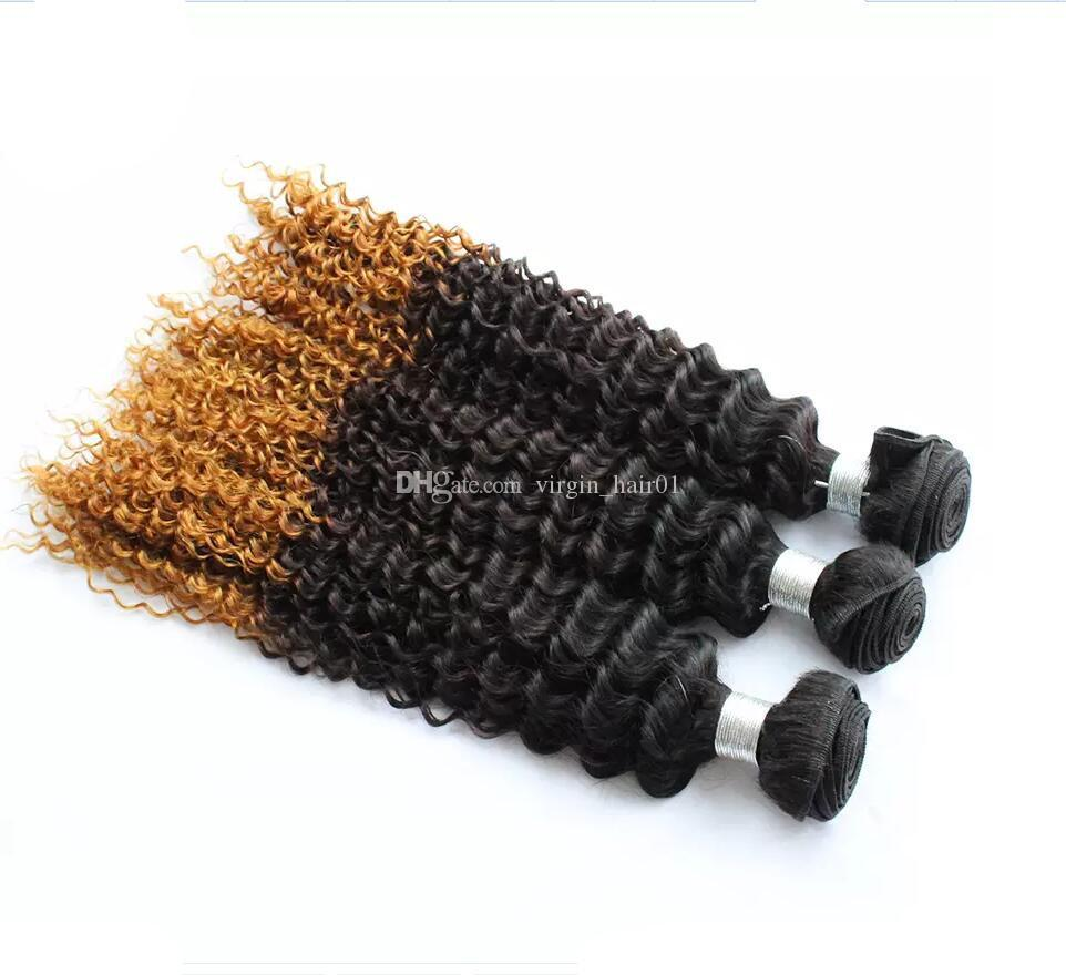 Three Tone Colored #1B 4 27 Honey Blonde Ombre Deep Wave Human Hair Weave Ombre Deep Curly Hair Extensions 3 Bundles For Sale